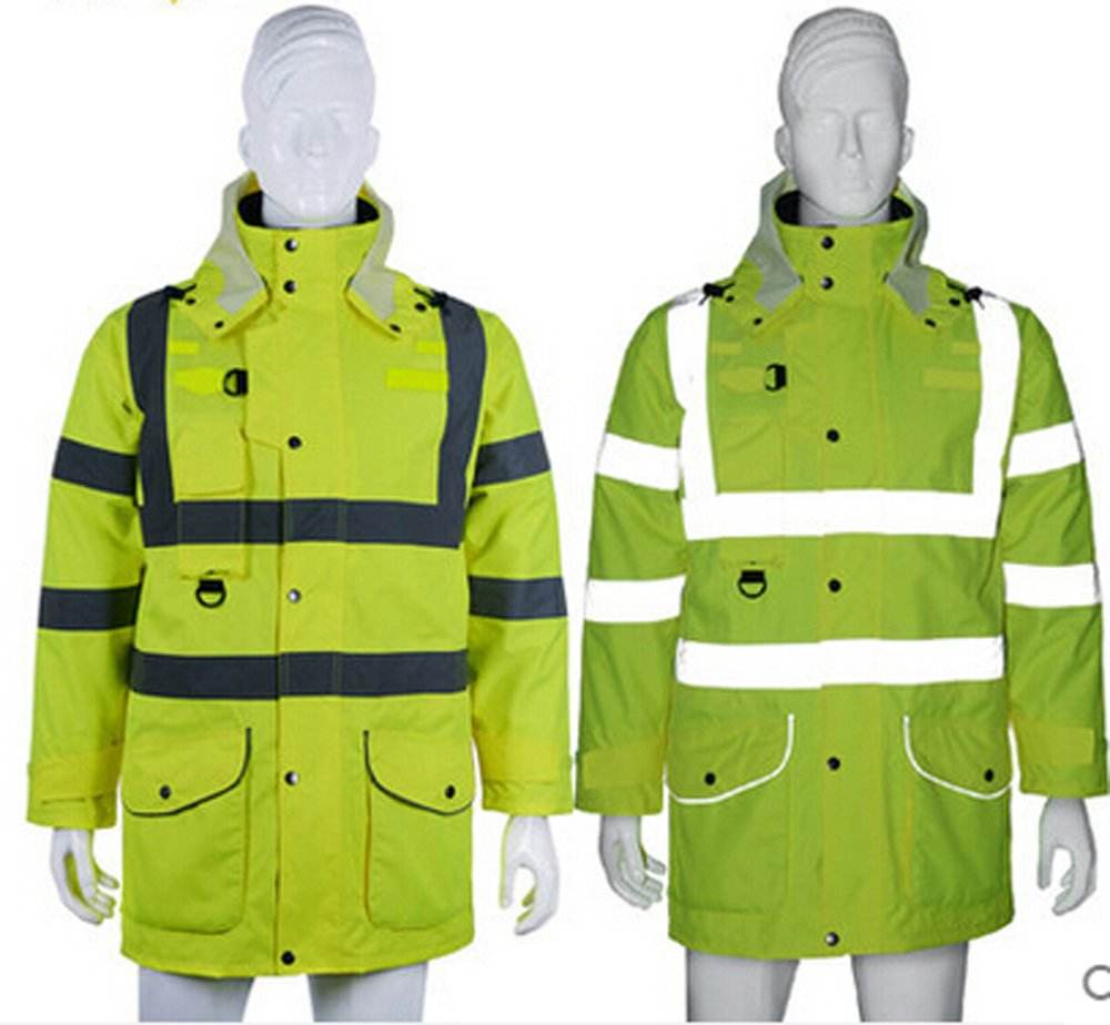 Reflective Jacket 7 in 1 Yellow Waterproof Reflective Class 3 Safety Parka Jacket with Zipper and Pockets