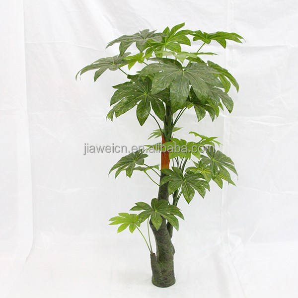 cheap model artificial big fatsia trees plastic trunk