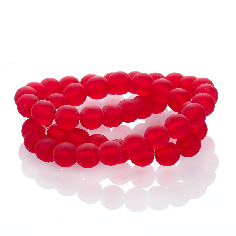 Red Glass Beads Frosted Imitate Ruby Matte Stone Loose Beads for Jewelry DIY Making
