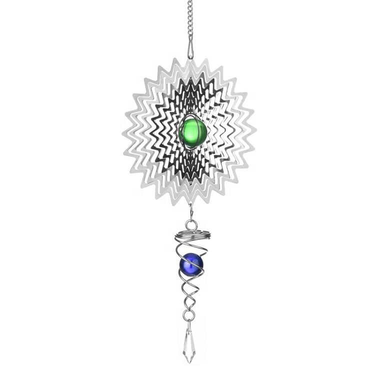 Wholesale garden decor laser cut 3d metal stainless steel wind spinner with crystal ball