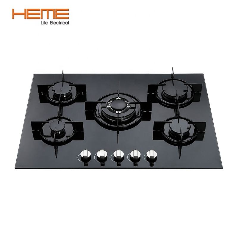 Kitchen 70cm glass corner 5 burner built in gas hob with enamel grill (PG7051G-AEB)