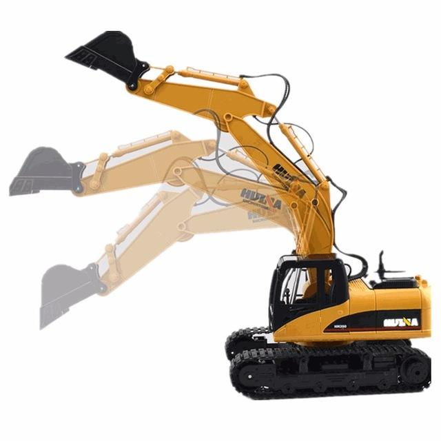 HuiNa 1550 crawler rc car Kit 15 Channel 2.4G RC Metal Charging Car With Battery RC excavator models toys