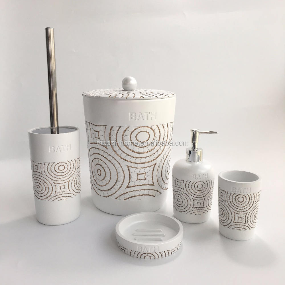 Hot sale new design round white polyresin 6pcs set bathroom accessories for hotel