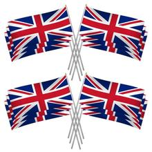 Popular Polyester Digital Printing Custom Union Jack  Hand  Flag Waving With Rod