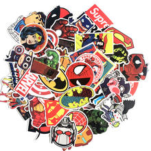 50 Pcs Marvel The Avengers Cartoon Sticker Waterproof For Laptop Moto Skateboard Luggage Guitar Decal Toy Stickers