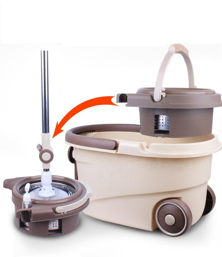 Household commercial 360 degree magic Spin rotating of Mop And Mop Bucket With Wheels