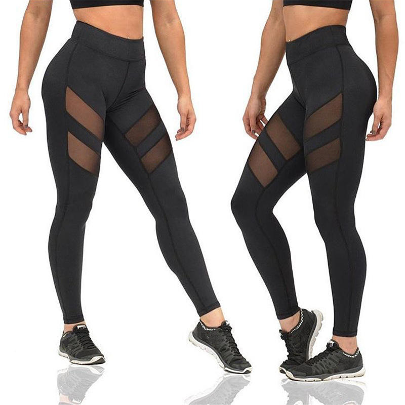 Custom Wholesale Women's Power Flex Mesh Yoga Pants Tummy Control Workout Yoga Capris Pants Leggings