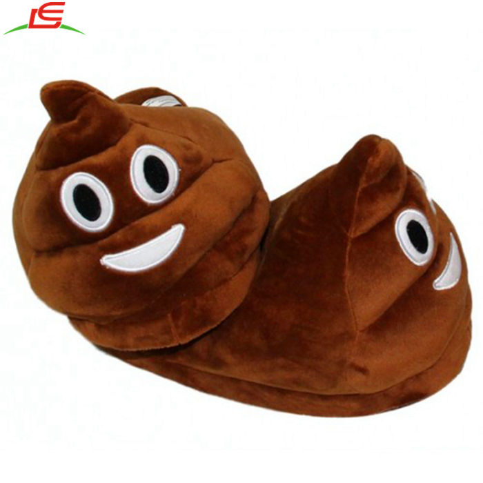 QQ Emoji Plush Slippers Poop Shaped Soft Plush Cotton Slipper Warm and Suitable Indoor House Unisex-Adult Shoes for Winter