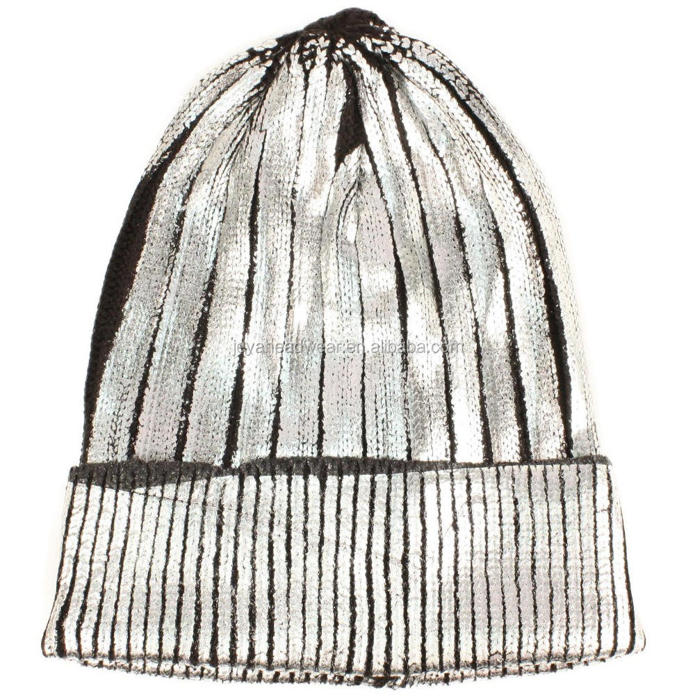 Custom Winter Metallic Shiny Chunky Thick Knit Party Beanie Skull Ski Hat Cap Silver