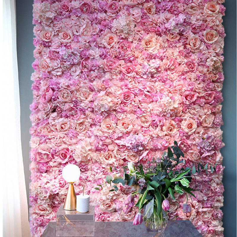 Promotional wholesale perfect non-fading and anti-aging durable artificial rose flower wall floral backdrop