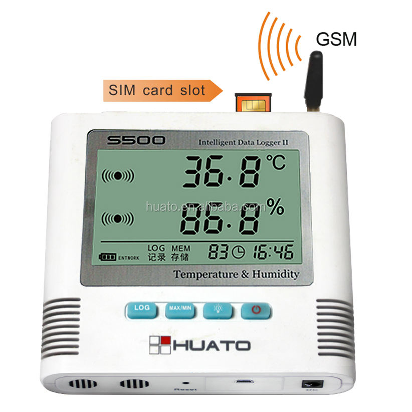 New Temperature Humidity Data Logger with Mobile Phone GSM SMS Alarm Remote Monitor