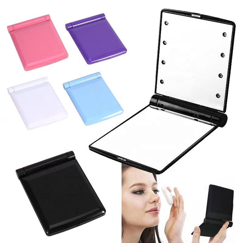 Top popular unique design low price fashion women ladies convenient make up cosmetic plastic folding compact portable led mirror