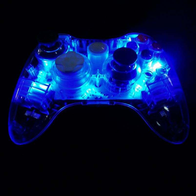 Transparent Blue Led Light Wireless Gamepad for Micro soft Xbox360 Game Console Controller