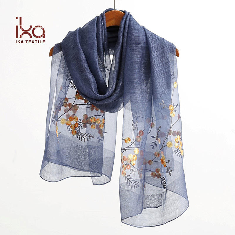Lady Fashion Accessory Over Size Oblong Floral Embroidered Wool Silk Scarf