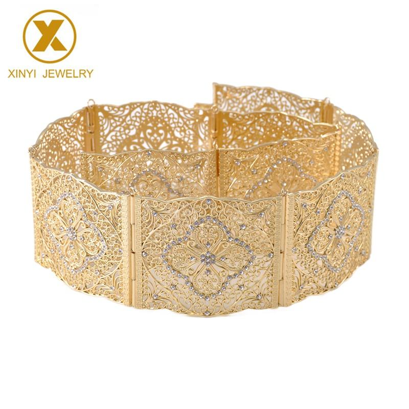 Newly designed Moroccan wedding dress gold belt with an aristocratic square cutout pattern metal belt