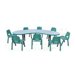 High quality kindergarten plastic table and chair set children moon style desk and chair school furniture set for sale