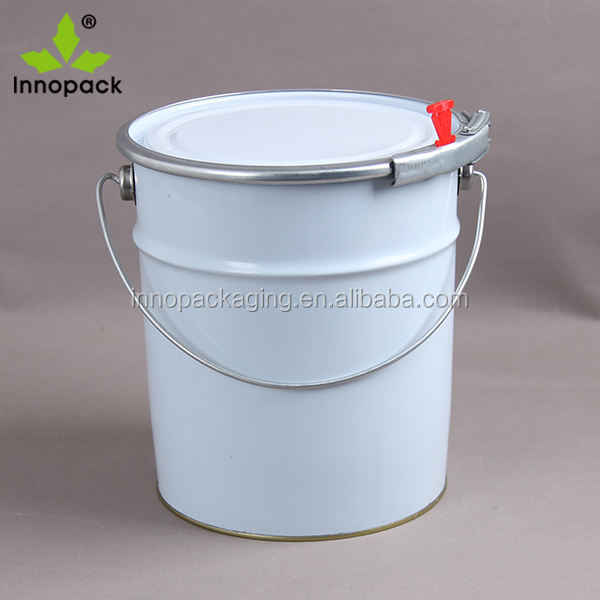 wholesale printed round iron metal pail/bucket 18liter with lock ring