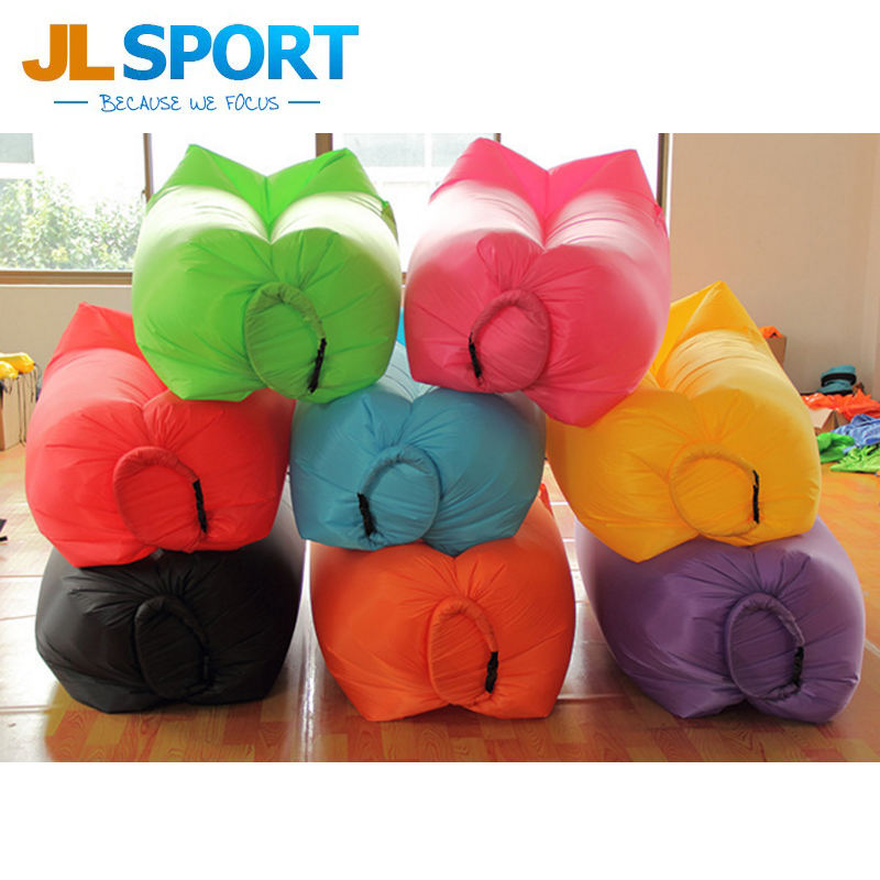 กลางแจ้ง inflatable air bed camping air sleeping bag สำหรับ beach lazy laybag