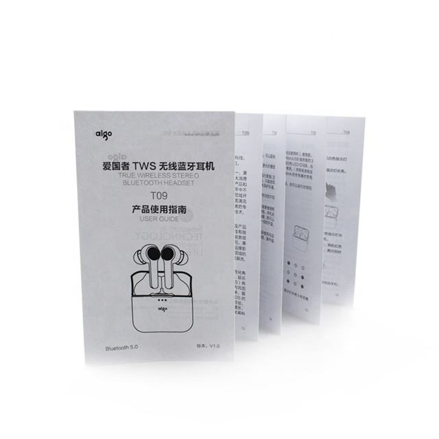 Customized black folding paper user manual instructions printing