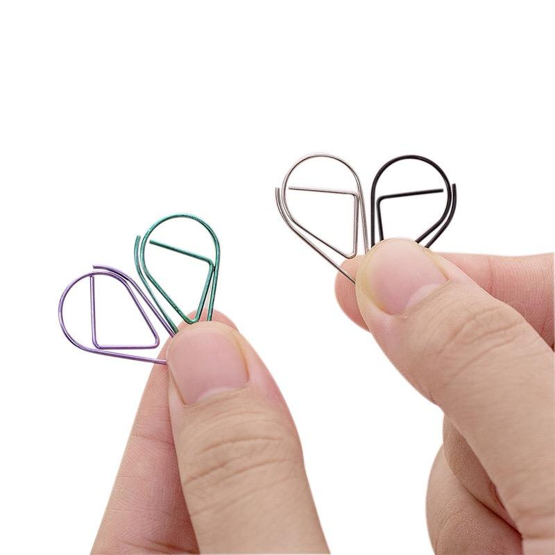 Simple 및 lovely 물 drop shape paper clip metal 북마크 큰 모티브 message 폴더 10 a 상자