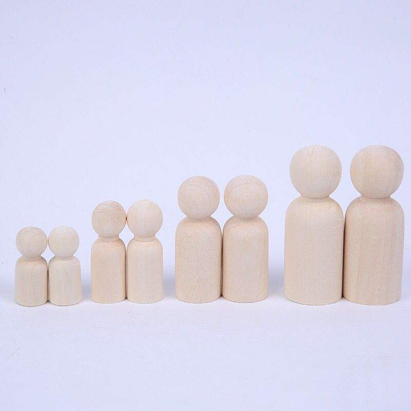 Wooden Family Handwork Material Unpainted DIY Natural Wooden Peg People Doll