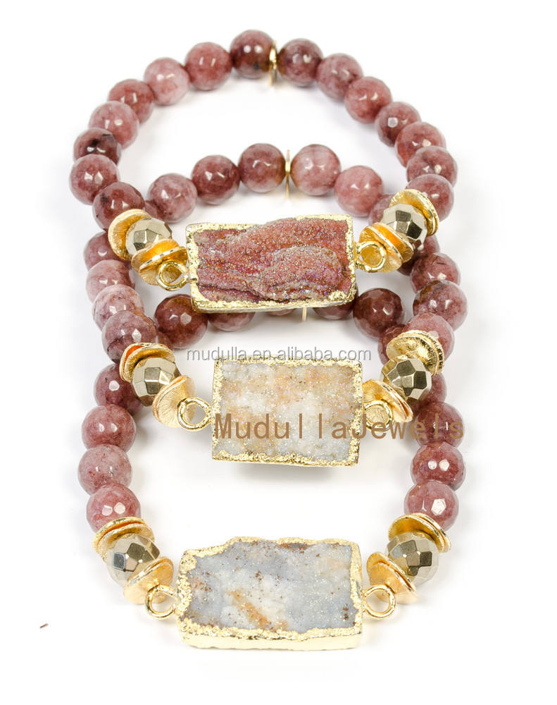BM25211 Beautiful Faceted Strawberry Quartz Crystal Beaded Bracelet With Natural Rectangle Druzy Charm Bracelet