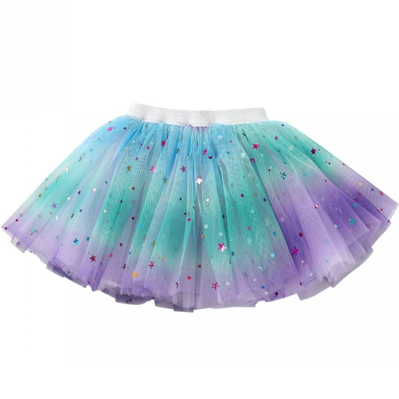 Soft Chiffon Girls Mini Tulle Skirts For Party Performance Birthday Wholesale Purple Baby Rainbow Skirt For Girls
