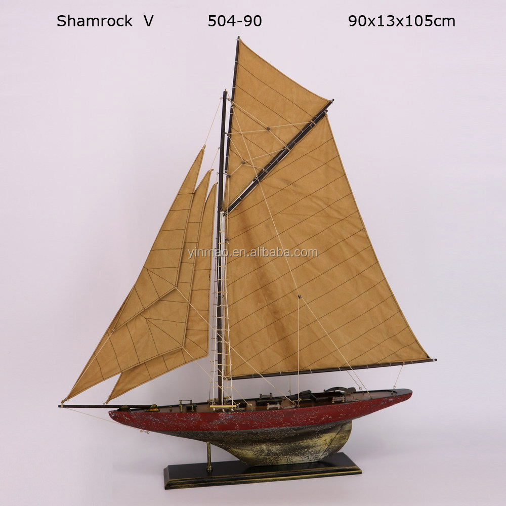 """Shamrock V"", Wooden J class racing yacht model, 90x13x105cm, 2 Antique old finish, America's cup sailing ship vessel, boatmodel"