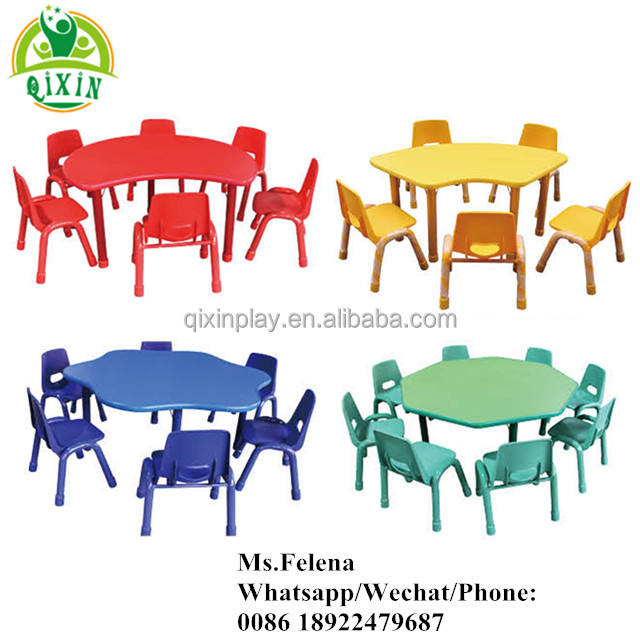 QIXIN PLAY Cheap kindergarten classroom furniture supplier Malaysia for children plastic table and chair