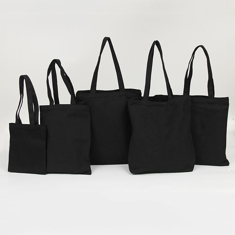 No MOQ Blank Custom Logo Tote Heavy Duty Eco Friendly Recycled Reusable 12oz Black Canvas Cotton Shopping Bag