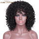 Aisi Hair Heat Resistant Fiber Black Color Short Curly Wig With Bangs Synthetic Afro Kinky Curly Wigs For Black Women