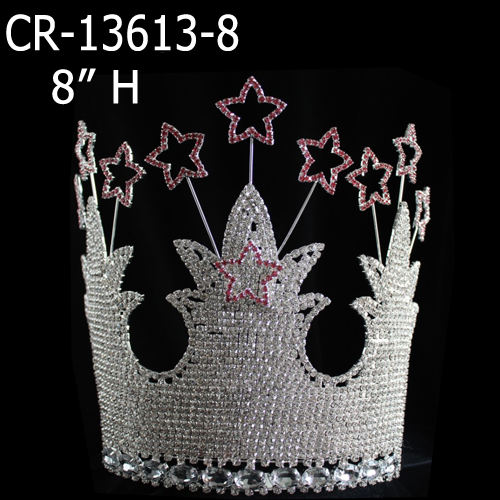 Star Pageant Rhinestone Large Crowns