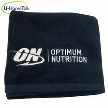 U-HomeTalk UT-MJ153 100% Personalized Utra Absorbent Cotton Small MOQ Cheap Price Custom Embroidered Black Gym Sport Towel