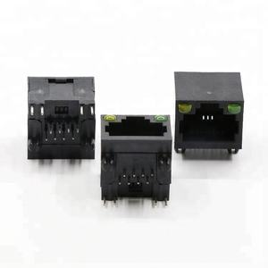 Kiri Kanan Hijau Kuning LED Single Port Hitam 8 PIN PANEL MOUNT RJ45 Konektor dengan LED