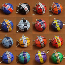 NBA team fans gift 3D miniature basketball with team logo keyring for sports gift