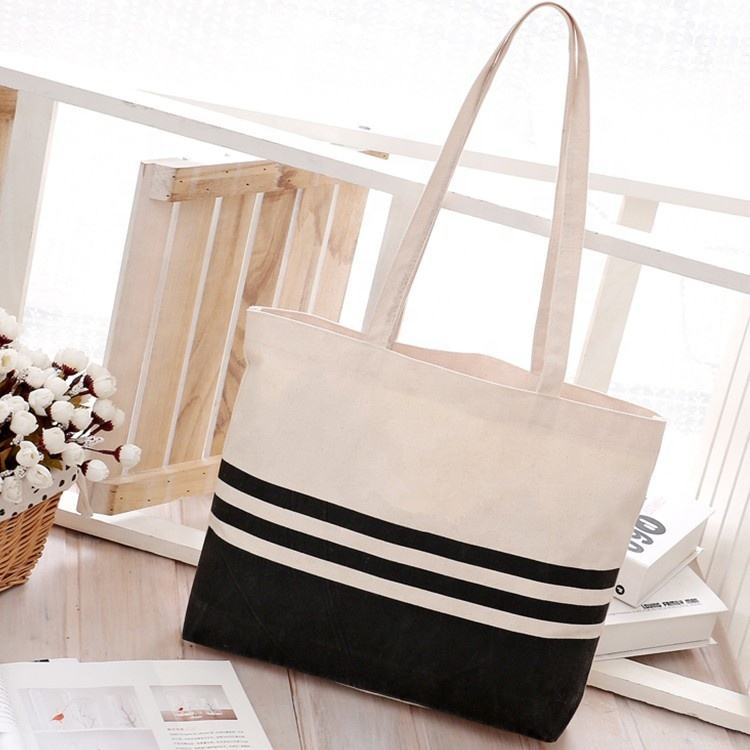 Large Striped Cotton Canvas Sturdy and Roomy Shoulder Tote Beach Bag