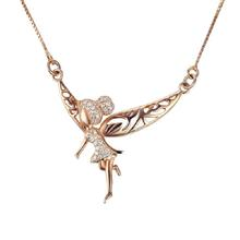 Popular rose gold plated clear cz tinkerbell necklace