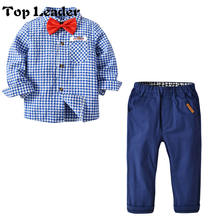 Top Leader Boys blue plaid long-sleeved shirt trousers bow tie gentleman out clothes pants 2pcs children clothings