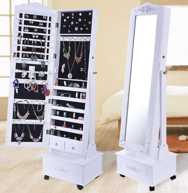 standing necklace wall jewellery storage armoire wardrobe organiser with drawer and wheels