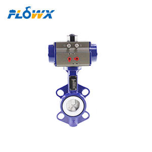 China Supplier NBR EPDM PTFE Seat Wafer Type Ductile Iron Pneumatic center lined butterfly valve