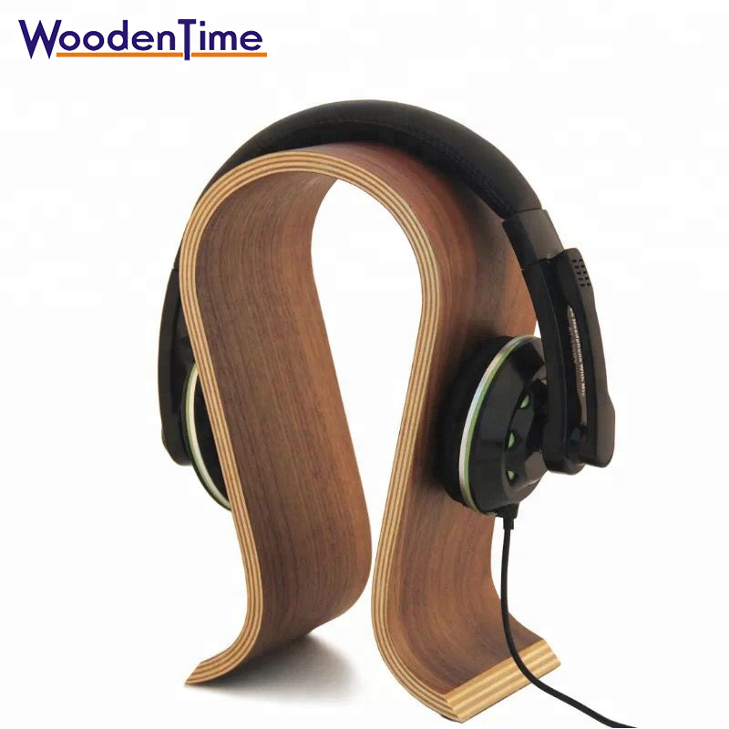 Woodentime manufacturer stand for headphone U shape special wooden display stand luxury wood headphone stand with Non-slip mat