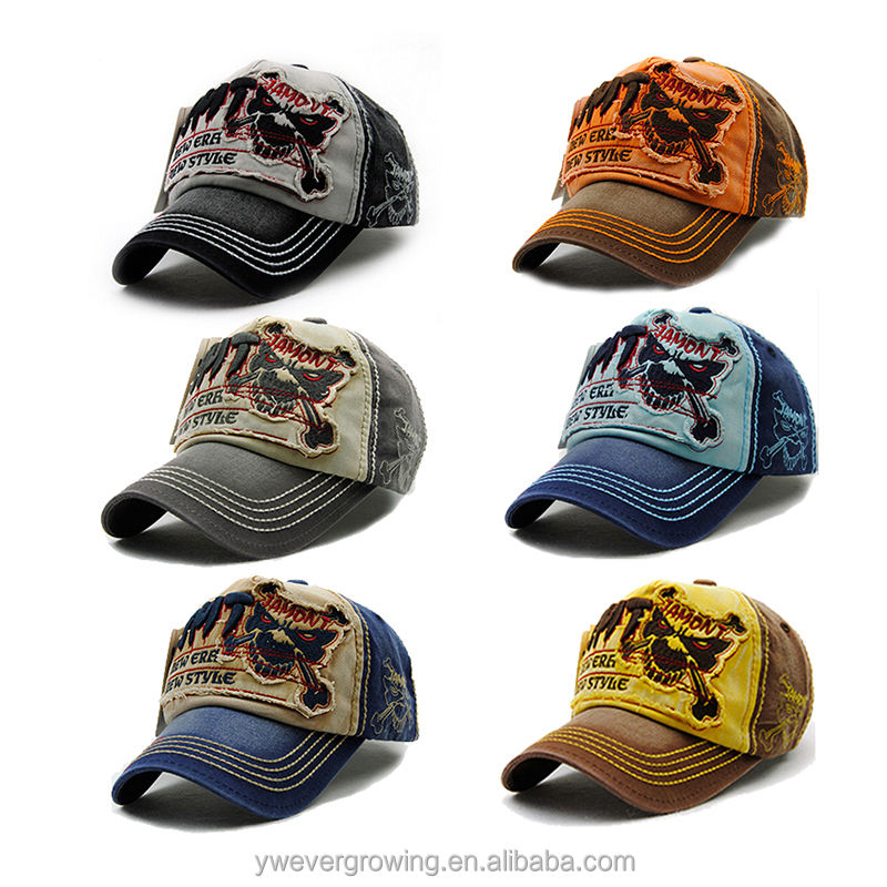 Wholesale heavy stitching 5 panel worn-out baseball hat custom short brim hat cheap price distressed baseball caps