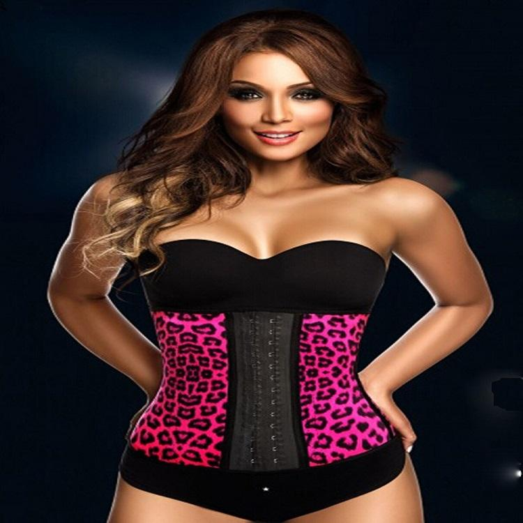 Paars luipaardprint 9 staal bonedd latex corset latex taille trainer