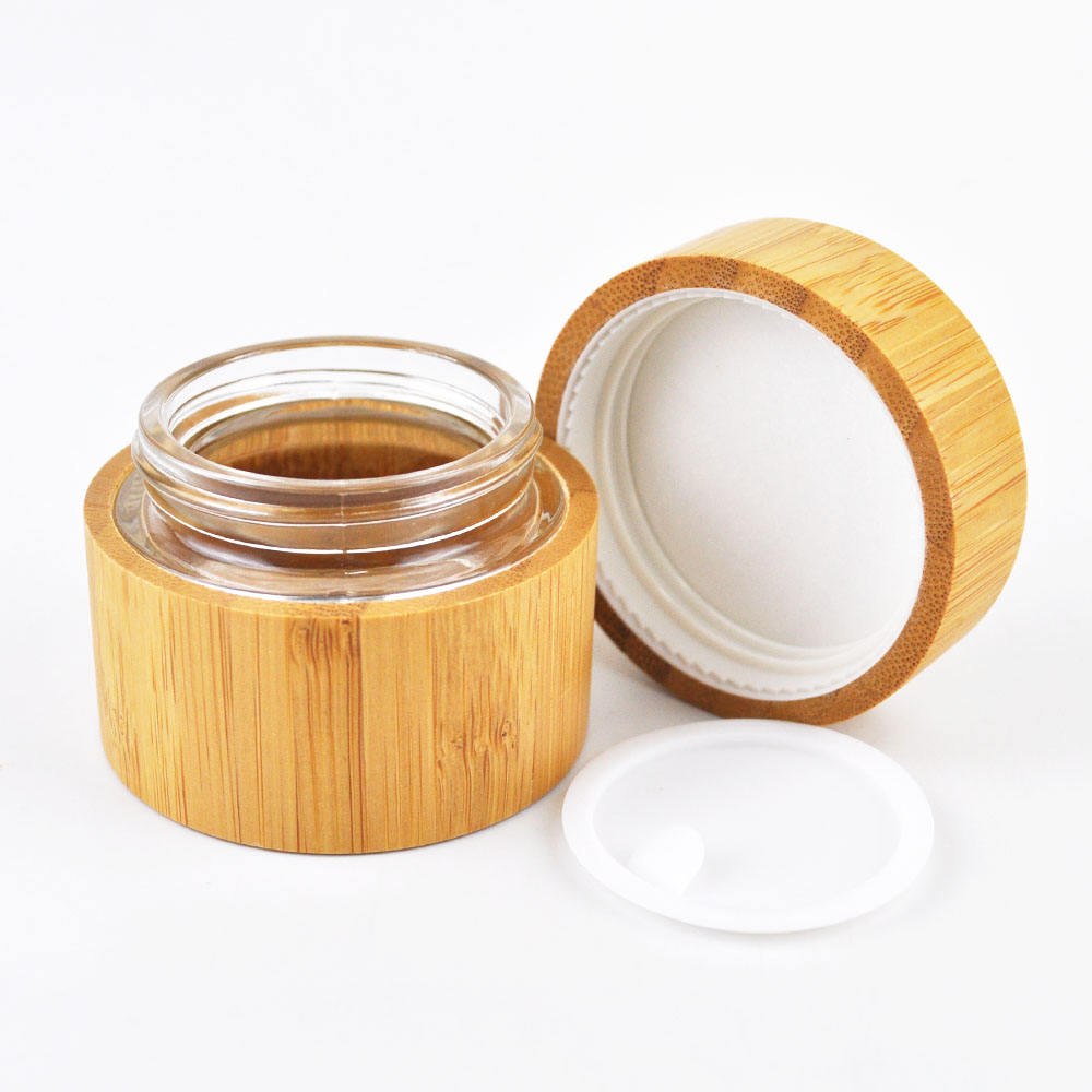 bamboo cream oil cosmetic glass container 5ml 10ml 20ml 30ml 50ml 100ml wooden bamboo cream jar