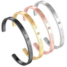 2020 New Arrivals Jewelry Engraved Stainless Steel Cuff Bracelet Custom Made Bracelet Women