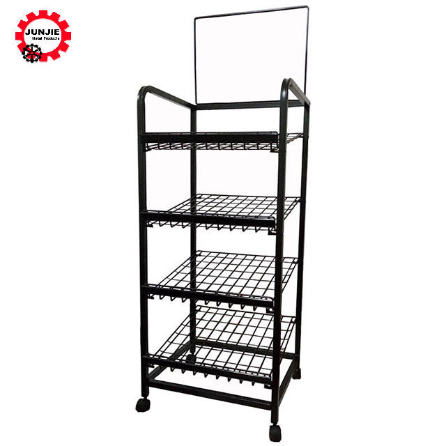 movable floor stand supermarket grocery Store Milk Bread Candy Shelf Rack Metal Commodity bread wire steel display rack