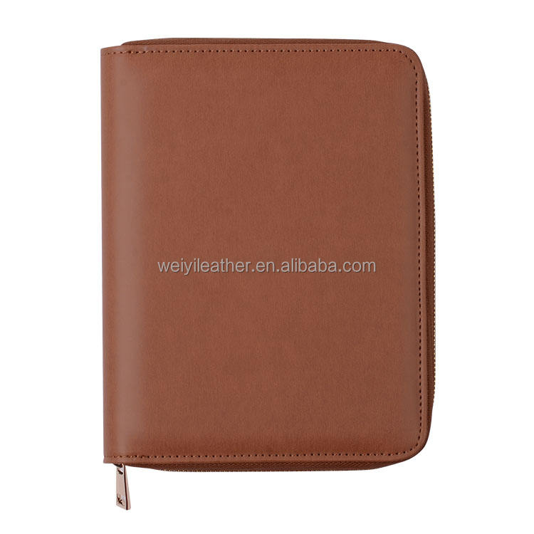 Cheap custom pu leather a4 document zipper bag with document flap