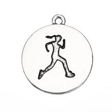 Tibetan Silver Plated Running Girl Figure Engraved Run Like A Girl Sports Charms Pendants Wholesale Jewelry
