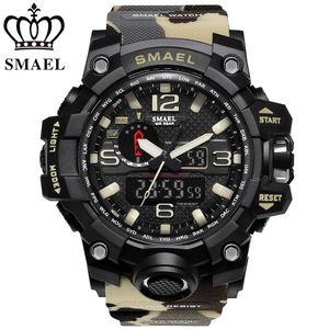 Camouflage SMAEL 1545MC Watch Men New Style Digital Waterproof Sports Military Watches Men's Shock Analog Dual Display watch
