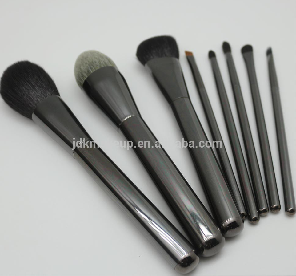 Jdk Hot Nieuwe Luxe 8 Stuks Gun Metal Kleur Make-Up Borstel Set Synthetisch Haar Cosmetica Make Up Brush Set